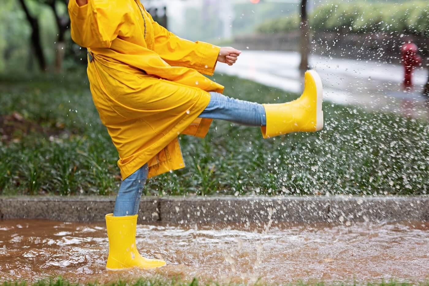 happy-kid-in-yellow-raincoat-and-rain-boots-having-XV753C3